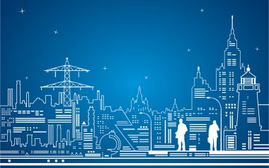 Nights city and electricity, vector lines art clip art vector