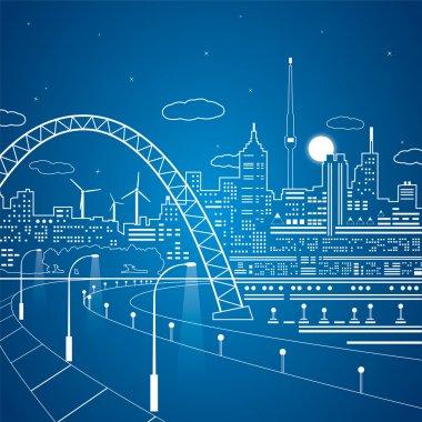 Neon lines city, road under the bridge, vector town