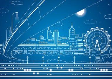 """Картина, постер, плакат, фотообои """"векторные линии города, векторный мост и путепровод, энергетический город, проектирование инфраструктуры архитектур природа"""", артикул 39427303"""