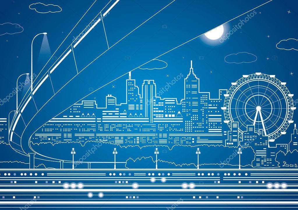 Vector lines city, vector bridge and trasport overpass, energy city, infrastructure vector design