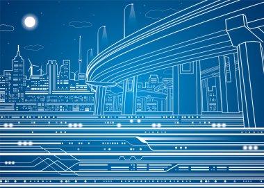 Vector city, vector lines overpass, bridge, underground, train, vector design