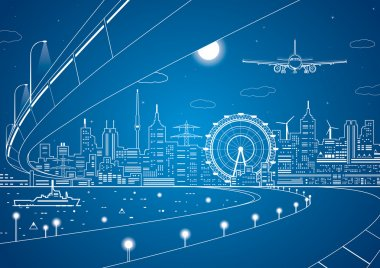 Airplane comes in to land on the background of the city at night, the ship on the water, vector art