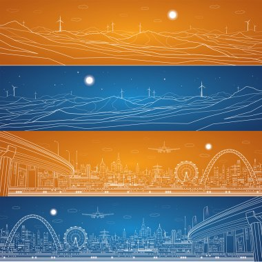 Energy industrial panorama, mountains landscape, vector set lines composition