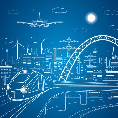 Vector lines train on the bridge, train on the background of the light city and plane comes in to land, vector art