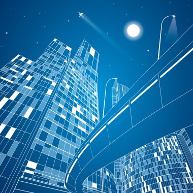 Airplane flying. Business building on background, overpass, neon city, vector design