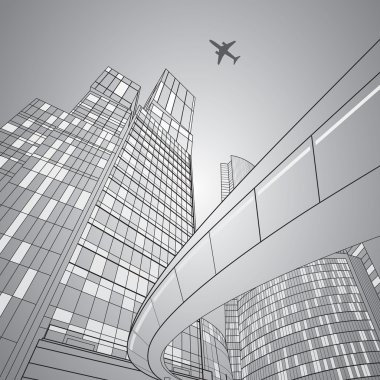 Airplane flying. Business building on background, overpass, vector design