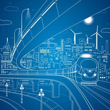 Vector lines train on the bridge, background night city