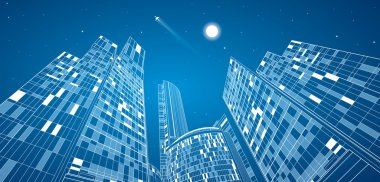 Airplane flying. Business building on background, neon city, vector design panorama