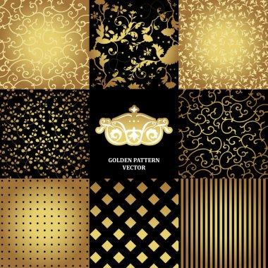 Set of black and golden patterns for your design