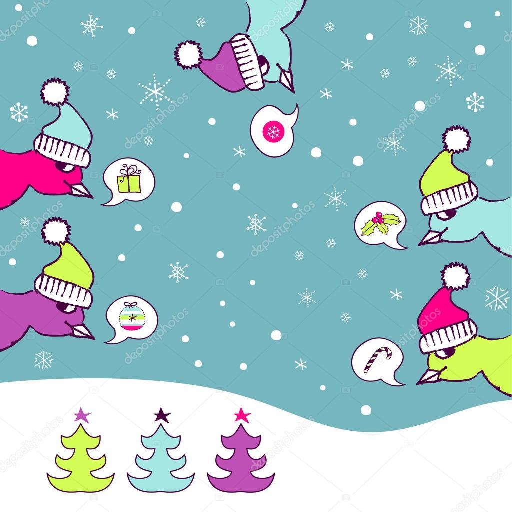 Retro Christmas Card With Naughty Birds Stock Vector