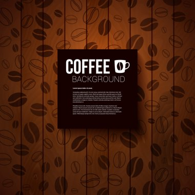 Dark paper note with place for Your text. Burnt wooden background with coffee beans.