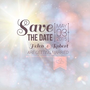 Save the date for personal holiday. Wedding invitation on a lovely soft background.