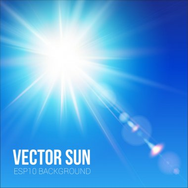 The bright sun shines on a blue sky background. Vector illustration with lens flare effect. stock vector