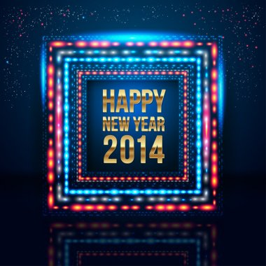Happy New Year 2014 poster with frame made of lights.