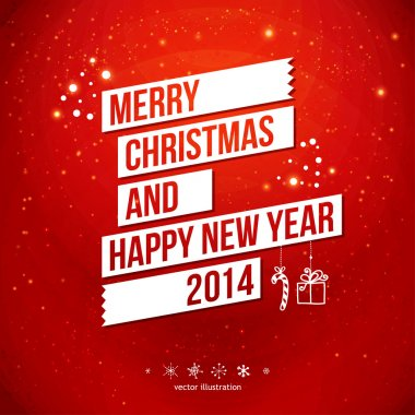 Merry Christmas and Happy New Year 2014 card. White ribbon, red background.