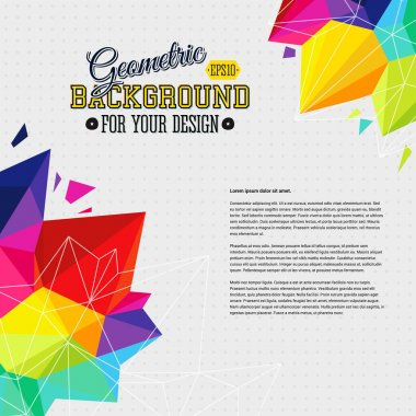 Geometric background with bright triangle elements and place for