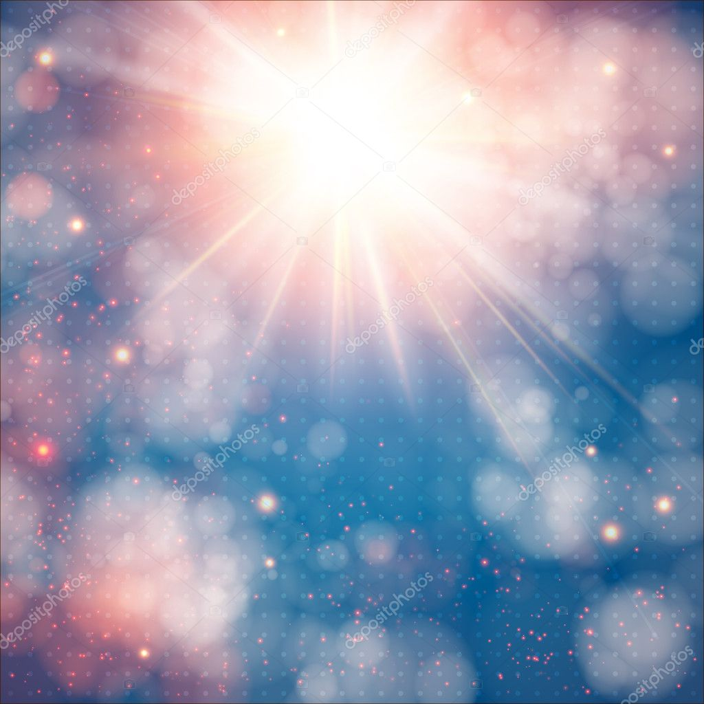 Shining sun with lens flare. Soft background with bokeh effect.