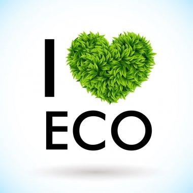 I love eco. Heart made of leaves. Vector illustration. stock vector