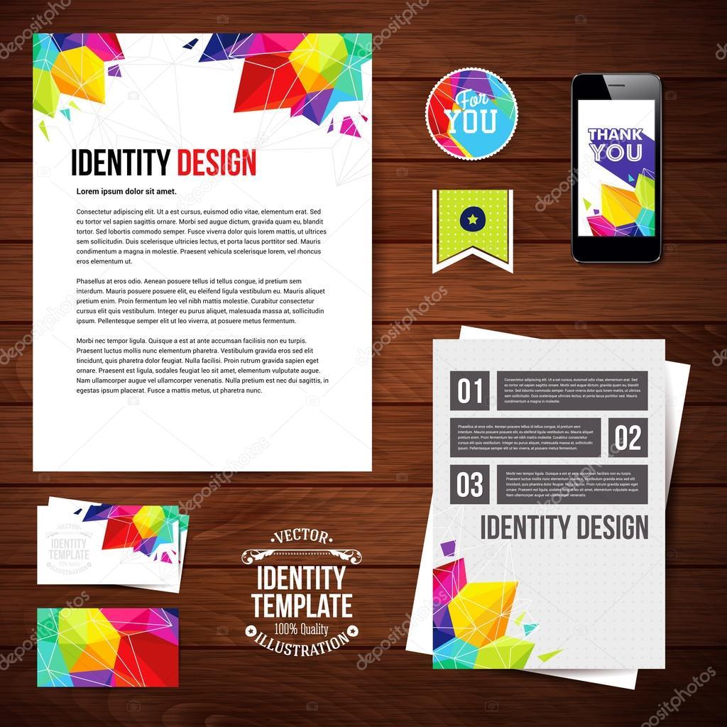 Identite Visuelle Pour Votre Entreprise Geometrique Style Jeu De Carte Visite Depliant Application Mobile Flans Autocollant Illustration