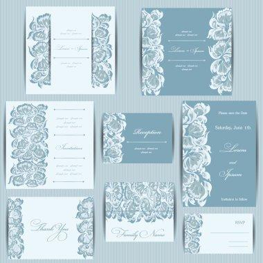 Set of wedding invitation cards.