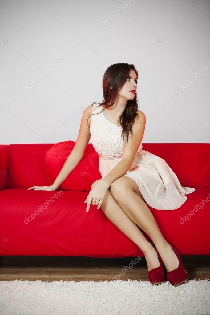 Woman sitting sofa