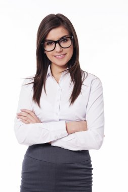 Beautiful young businesswoman with glasses