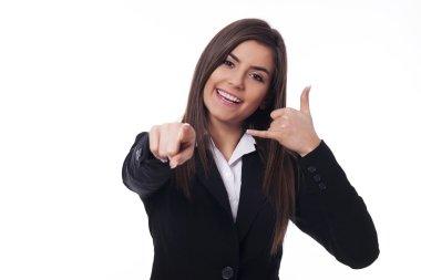 Cheerful woman gesturing