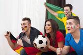 Fényképek fiatal foci rajongók, a mérkőzés alatt