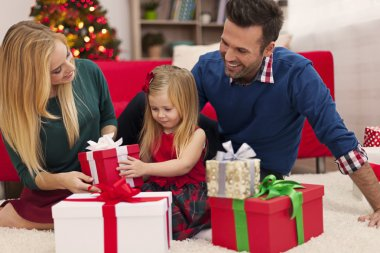 young family on Christmas time