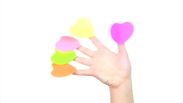 Fingers with hearts waving