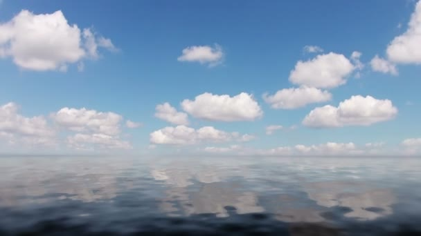 Clouds and calm ocean. Timelapse