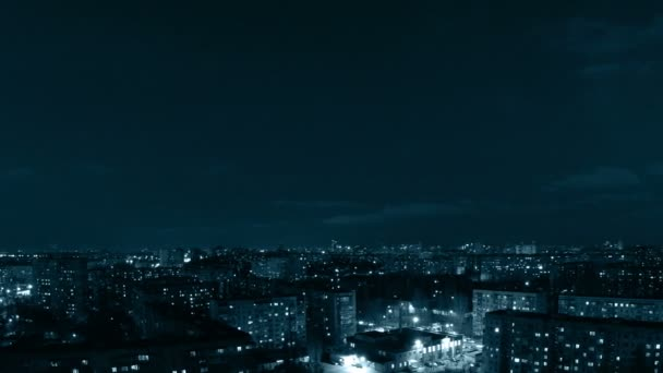 Panorama of city evening. Tinted. Timelapse