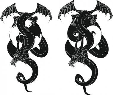 dragon tribal like - Yin and Yang - Globe