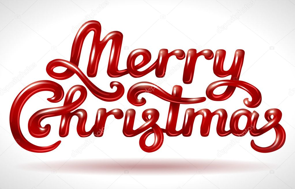 Merry Christmas hand lettering red signature