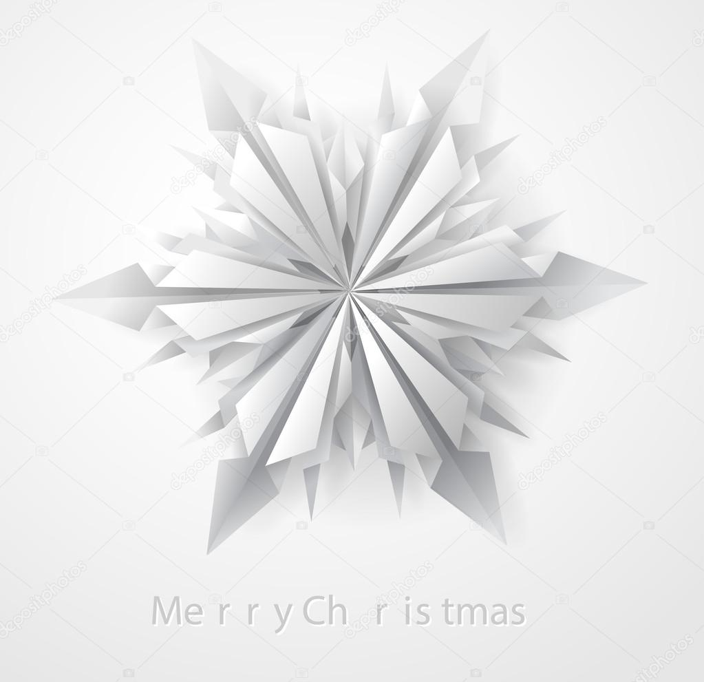3D Origami Folded Snowflake Card Stock Vector