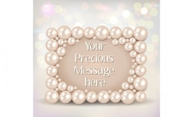 Shiny pearls frame on bokeh background