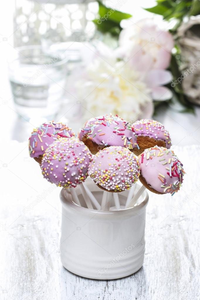 Cake pops and peony flower — Stock Photo © agneskantaruk #26744931