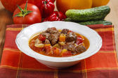 Hungarian goulash with meat and fresh vegetables