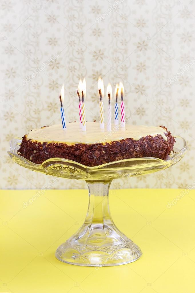 Birthday Party Table Setting Vanilla And Chocolate Layer Cake Stock Image
