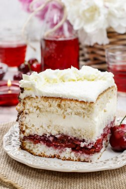 Cherry and coconut layer cake
