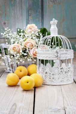Vintage birdcage, beautiful pink roses and gypsophila paniculata