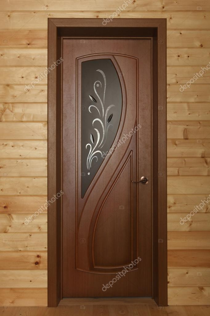 Fotos puertas de madera puerta de madera con ventana de for Vidrios decorados para puertas interiores