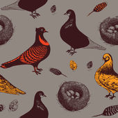Pigeons and nest. Seamless pattern. Vector illustration.