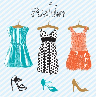 Dresses. Vector illustration.