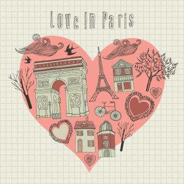 Valentine's card. Love in Paris. Vector illustration.