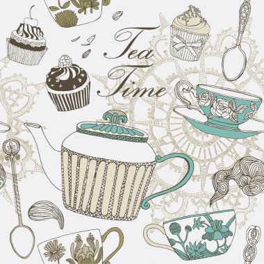 Tea and sweets background. Vector illustration.
