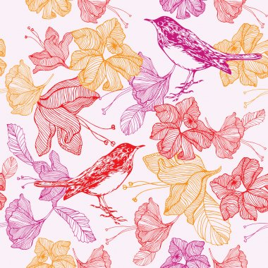 Flowers and birds. Seamless pattern. Vector illustration.