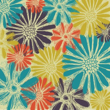 Vintage romantic seamless pattern with summer flowers