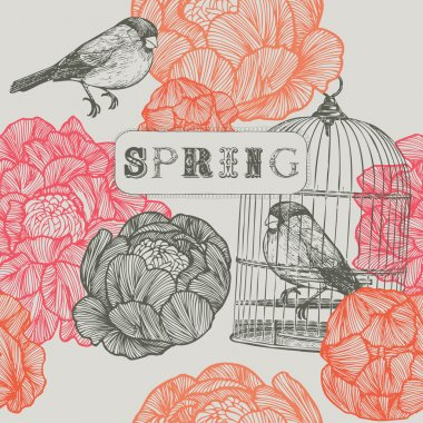 Spring background. Birds and cages.