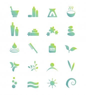 Wellness, spa, beauty and nature vector icons sets isolated on white